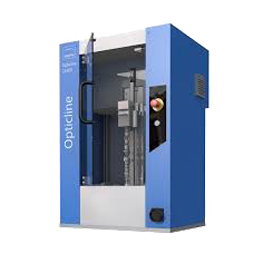 Blue opticline shaft measuring machine with transparent background