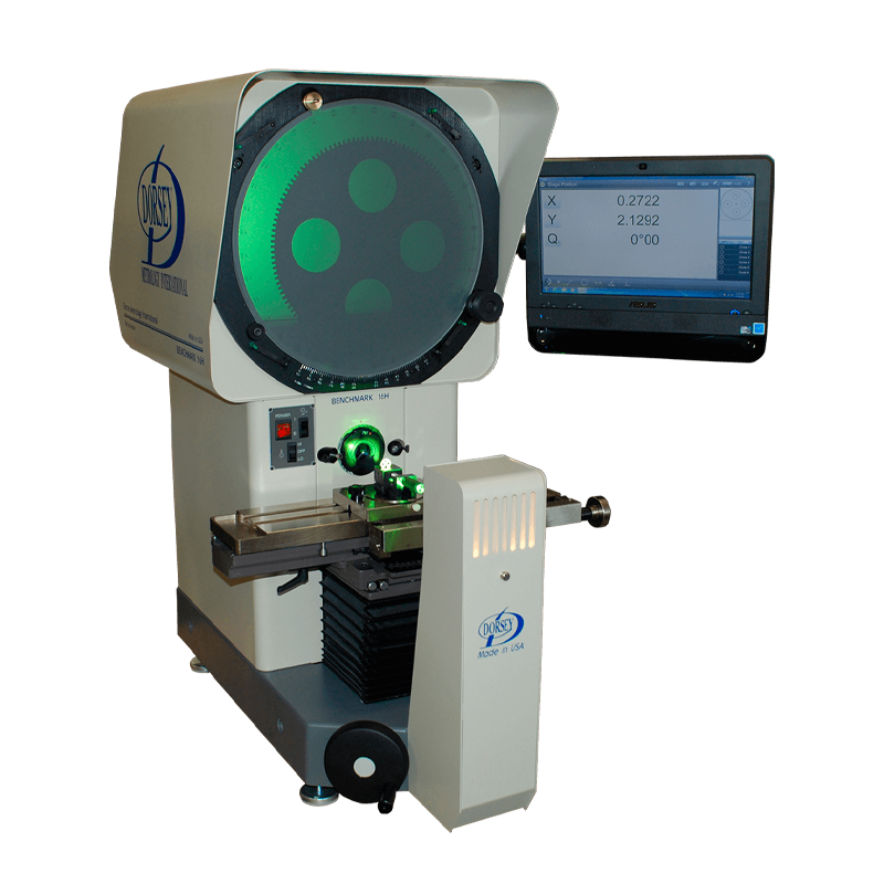 Optical comparator with monitor read-out attached.