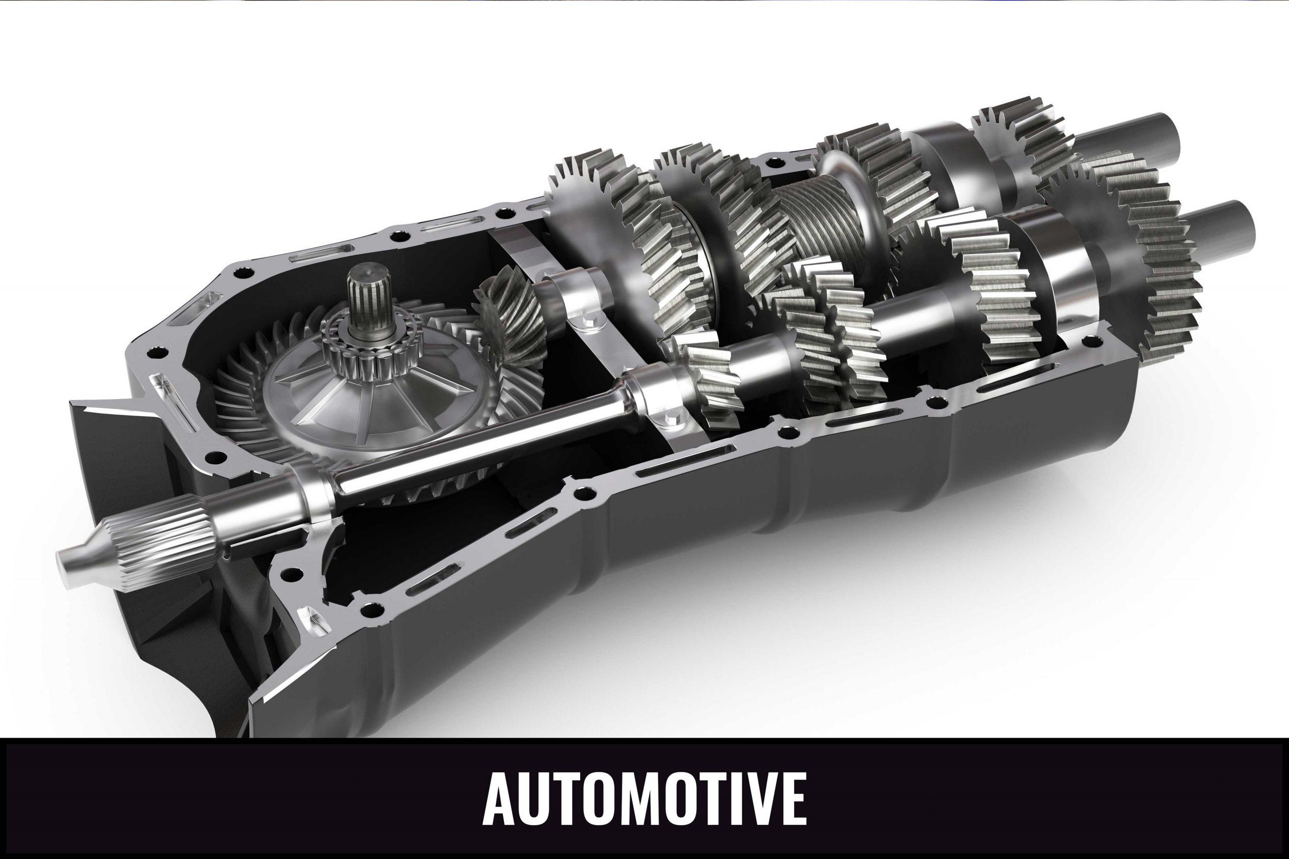 3D illustration of automotive gears.