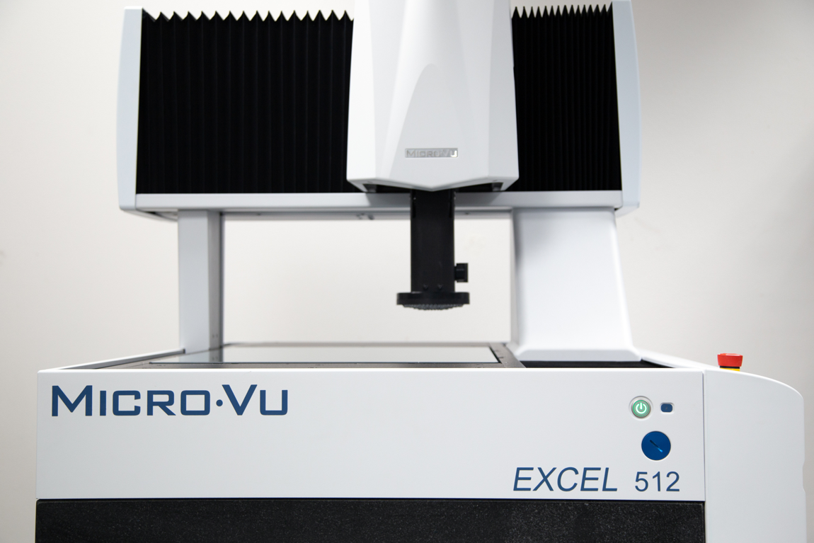 Excel 512 Micro-Vu Product with overhead above viewing platform and blue labeling on the side.